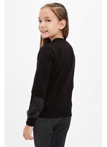 DeFacto Örme Sweatshirt Siyah